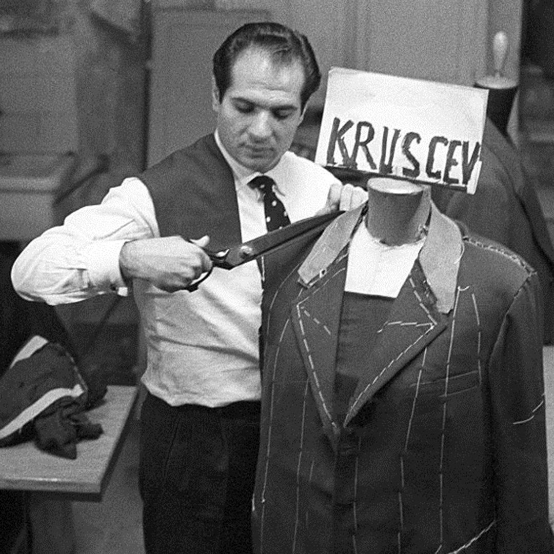 Angelo Litrico making a jacket for Nikita Khrushchev in October 1957.